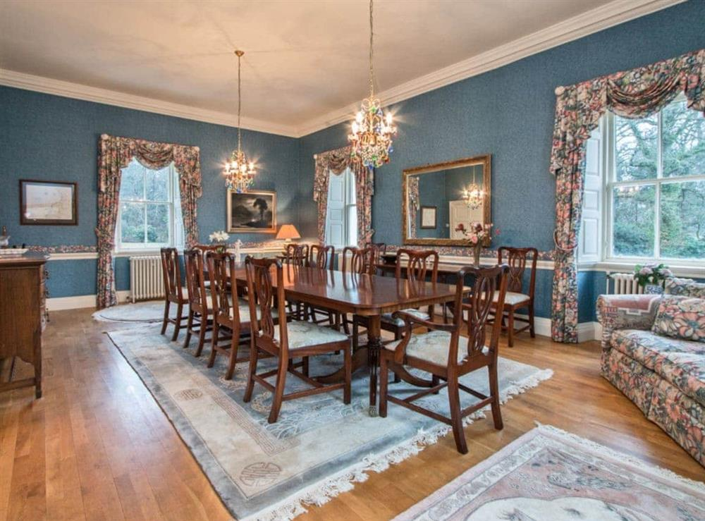 Large dining room with wooden floor at Monkwood House in Minishant, near Ayr, Ayrshire