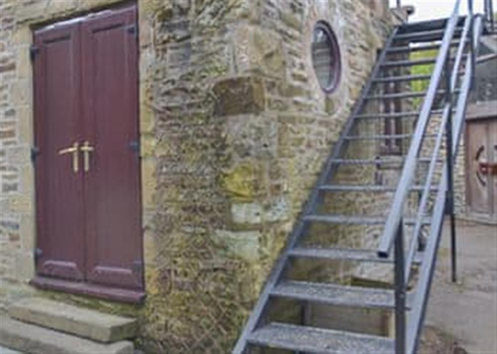External metal staircase