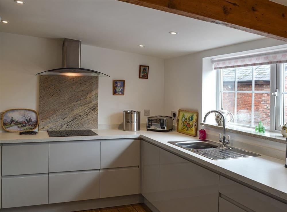 Kitchen at Moss Hall Barn in Rushton, near Tarporley, Cheshire