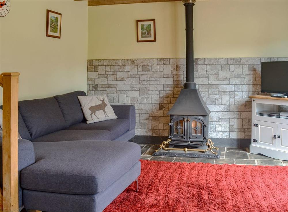 Delightful living area with cosy wood burner at The Woodshed,