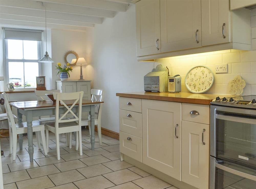 Stylish open plan kitchen/dining room at Mur Llwyd in Rhoshirwaun, near Pwllheli, Gwynedd