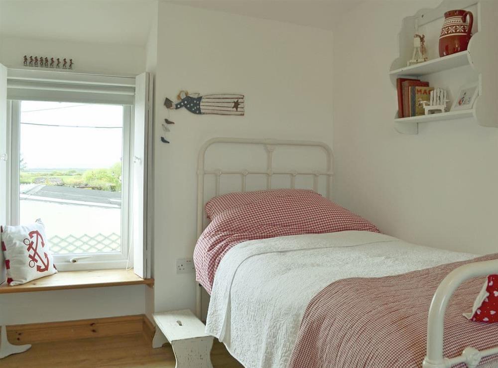 Twin bedroom with views at Mur Llwyd in Rhoshirwaun, near Pwllheli, Gwynedd