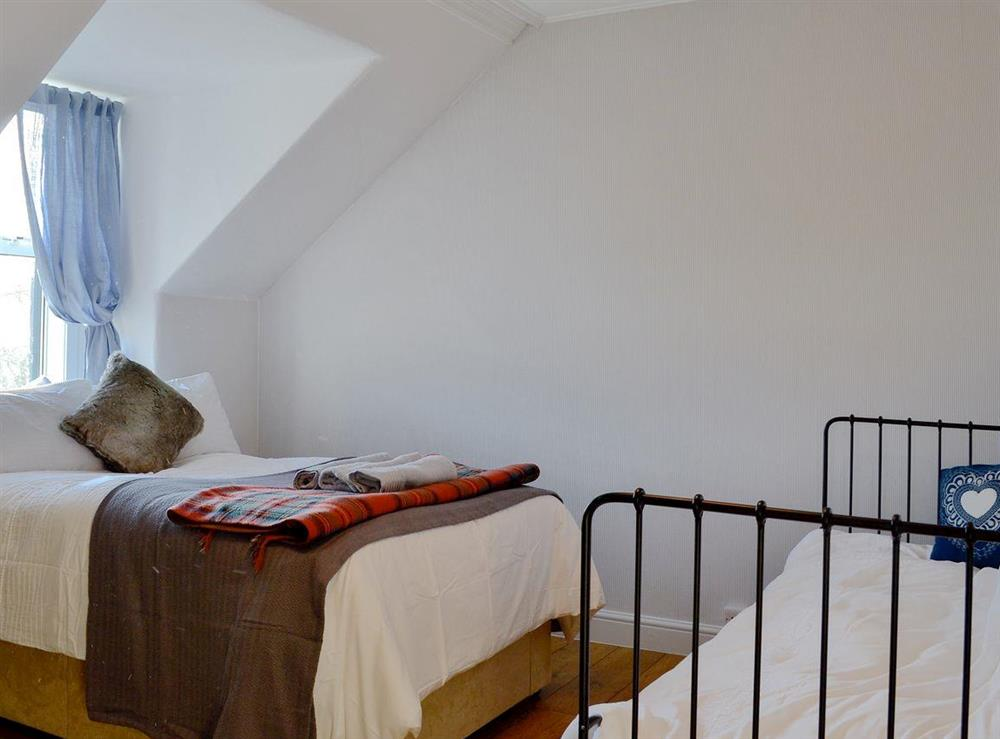 Cosy bedroom with single bed and ¾ double bed (photo 2) at North Balloch Farmhouse in Barr, near Girvan, Ayrshire