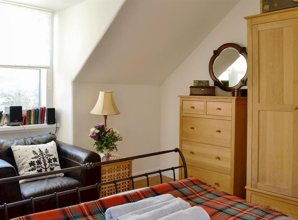Double bedroom with lots of natural light at North Balloch Farmhouse in Barr, near Girvan, Ayrshire