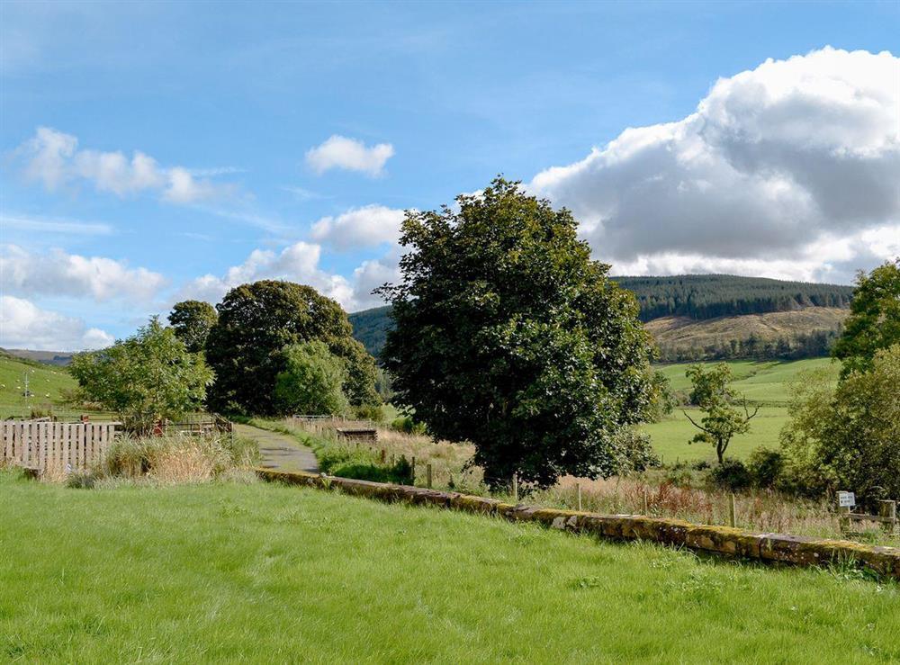 Garden with countryside views at North Balloch Farmhouse in Barr, near Girvan, Ayrshire