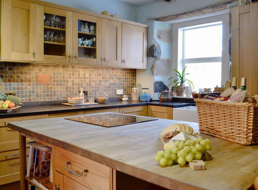 Well equipped kitchen at North Balloch Farmhouse in Barr, near Girvan, Ayrshire