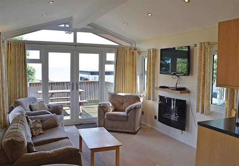 Living room in the Acorn Lodge at Oakcliff Holiday Park in Dawlish, South Devon