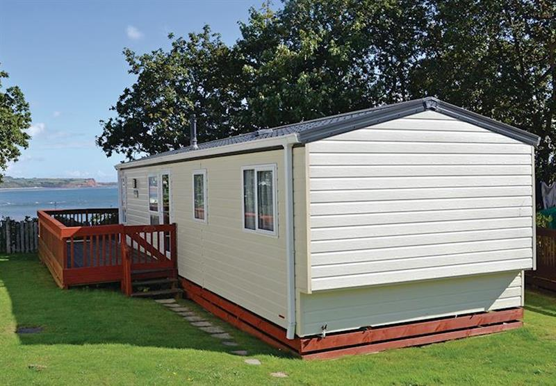Outside Pinewood Lodge at Oakcliff Holiday Park in Dawlish, South Devon