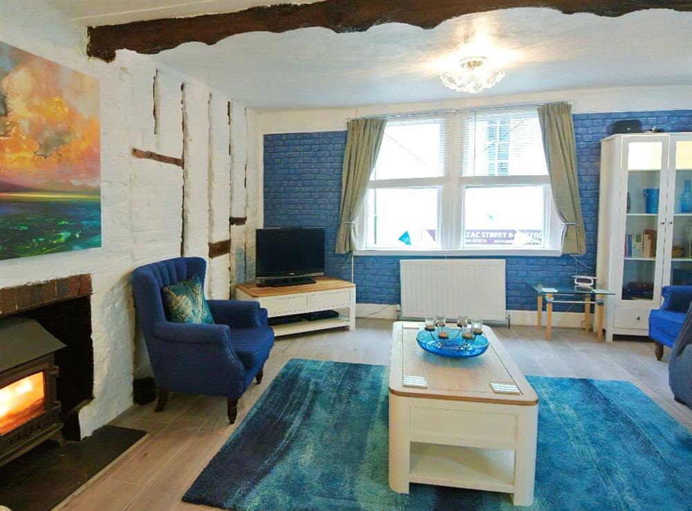 Cosy living area with wood burner at Ocello in Ocello, Devon