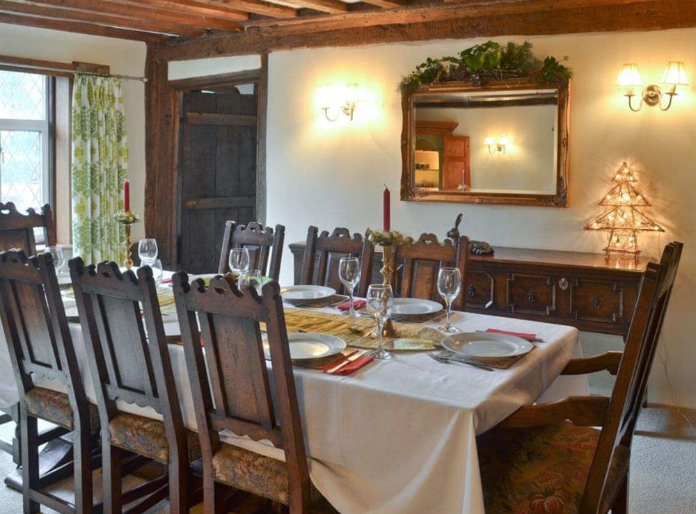 Dining room at Old Hall Farmhouse in St Nicholas, Harleston, Norfolk., Great Britain