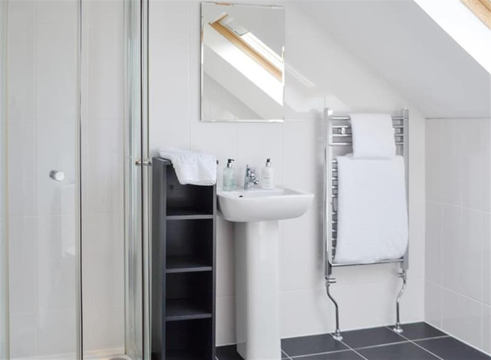 Light and airy first floor shower room at Old Loans Cottage in Loans, near Troon, Ayrshire
