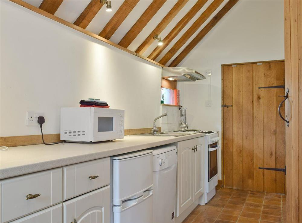 Galley style kitchen at Falstaff Cottage,