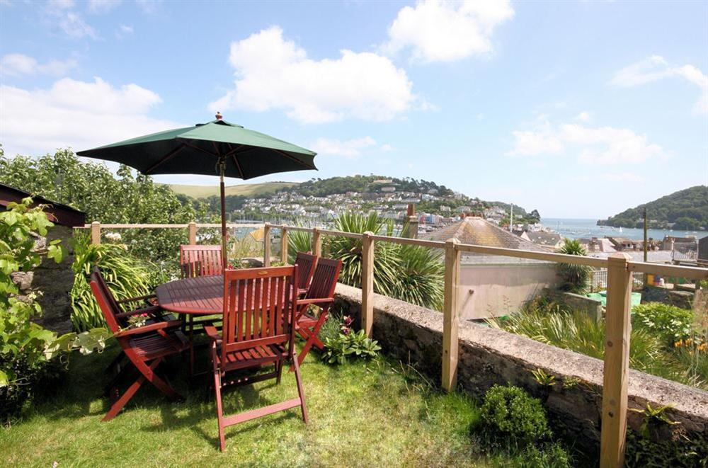 Garden with views across the River Dart at Onedin House in 11 Crowthers Hill, Dartmouth