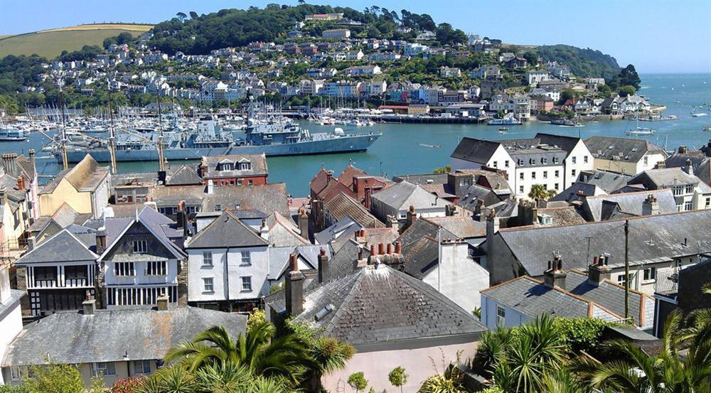 Impressive balcony view of Kingwear and the frigate HMS Sutherland at Onedin House in 11 Crowthers Hill, Dartmouth