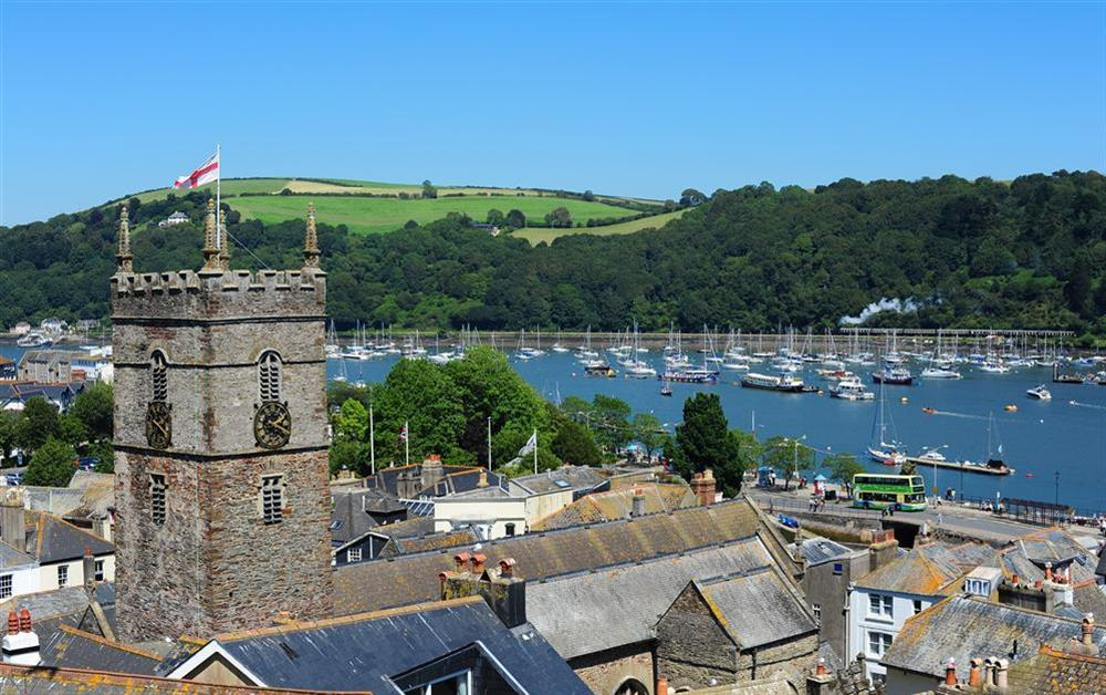 The stunning view as you look out to the left from the balcony at Onedin House in 11 Crowthers Hill, Dartmouth