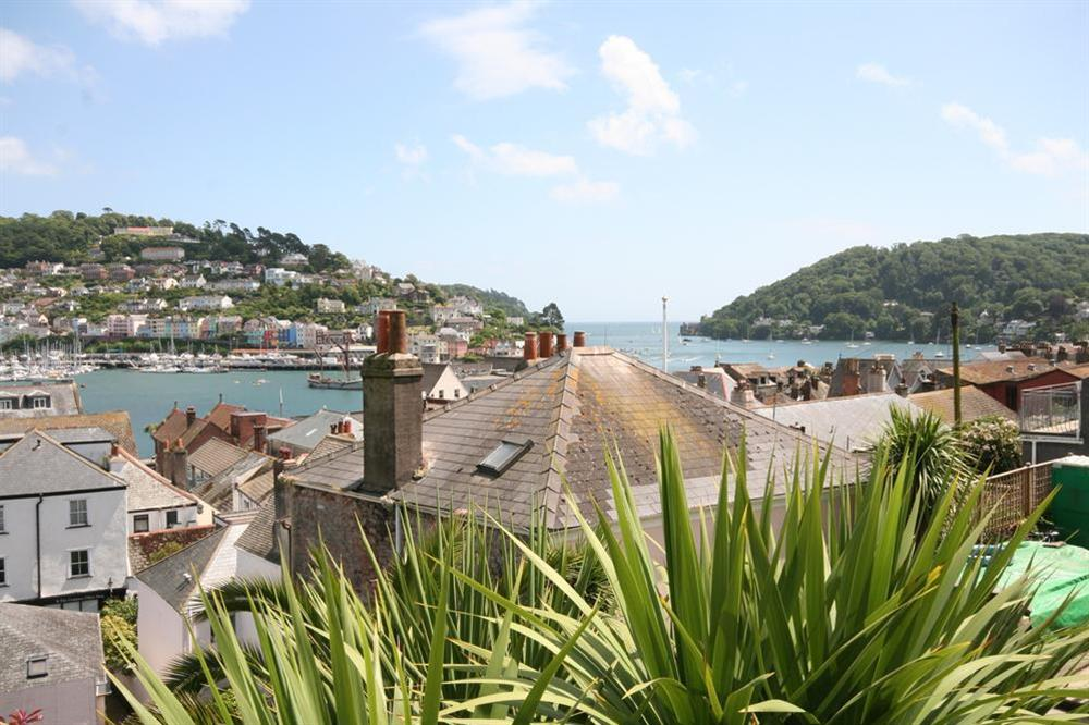 View from the garden out to sea at Onedin House in 11 Crowthers Hill, Dartmouth