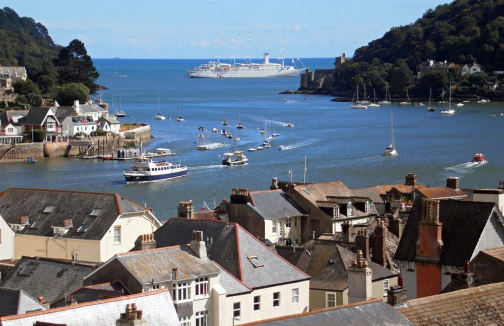 Wind Surf, the world's largest sailing ship, viewed from the balcony at Onedin House in 11 Crowthers Hill, Dartmouth