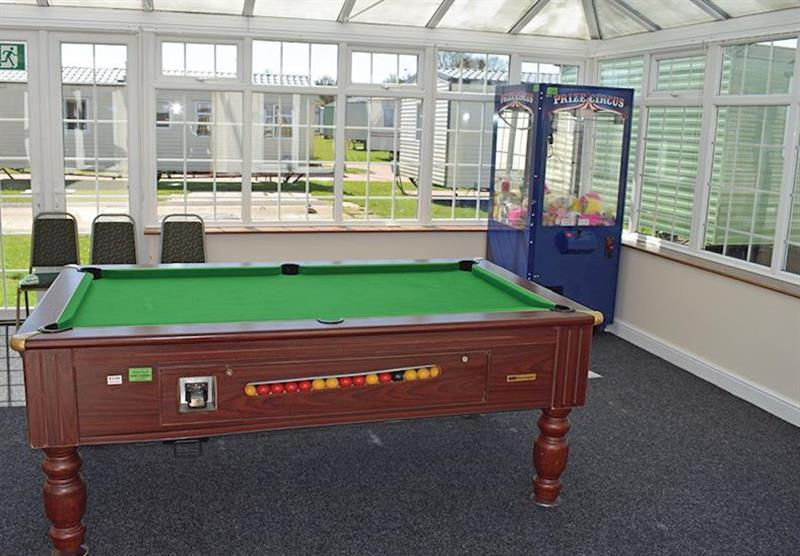 Games room at Orchard Farm Caravan Park in Witham Bank, Chapel Hill