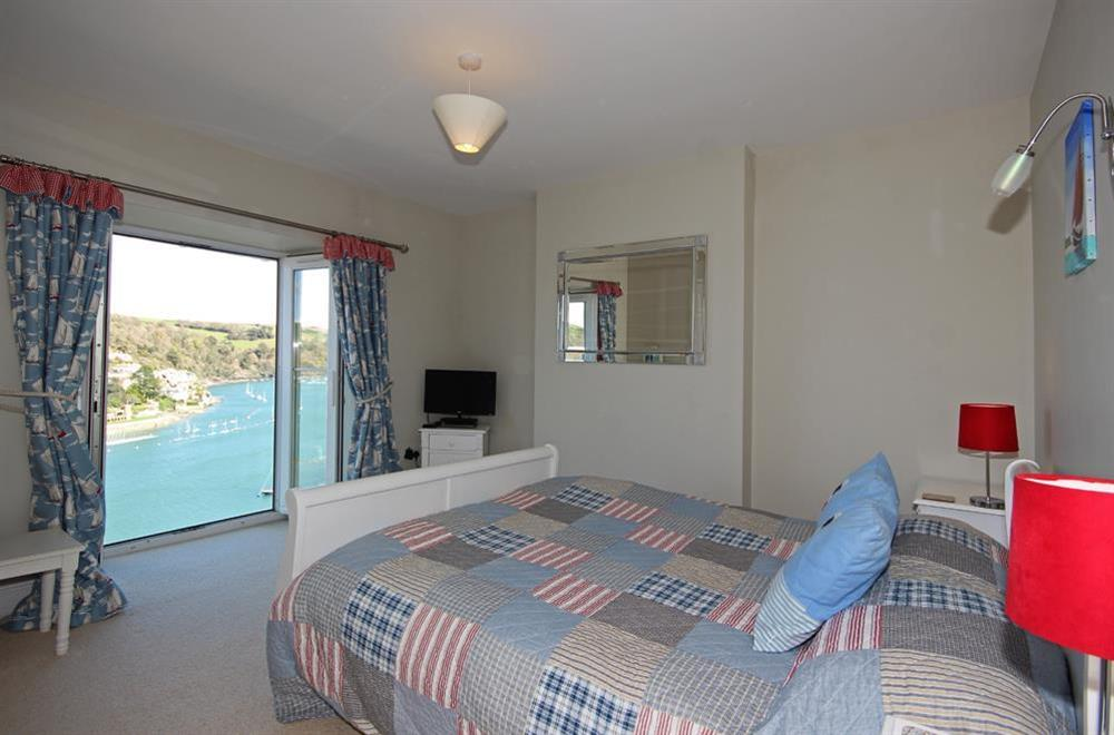 En suite bedroom with superb views at Out To Sea in 120 Above Town, Dartmouth
