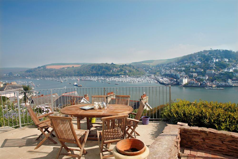 Views from terrace towards Kingswear at Out To Sea in 120 Above Town, Dartmouth