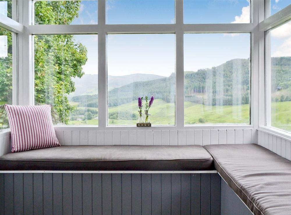 Conservatory with great views at Over Blairish Cottage in Keltneyburn, near Aberfeldy, Perthshire