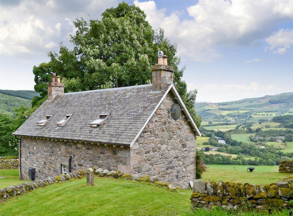 Exterior with fantastic views at Over Blairish Cottage in Keltneyburn, near Aberfeldy, Perthshire