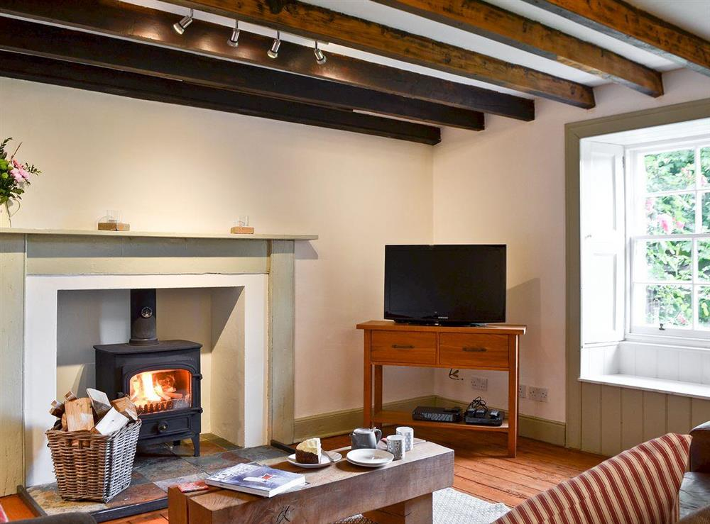 Living room with wood burning stove (photo 2) at Over Blairish Cottage in Keltneyburn, near Aberfeldy, Perthshire