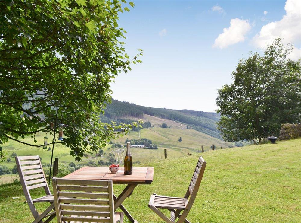 Sitting ot area with great views of the countryside at Over Blairish Cottage in Keltneyburn, near Aberfeldy, Perthshire