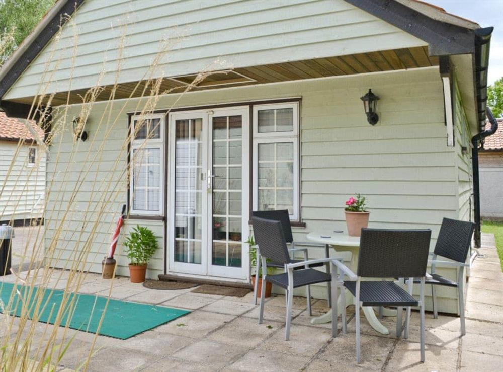 Sitting-out-area at Owl Lodge in Forncett St Peter, near Long Stratton, Norfolk