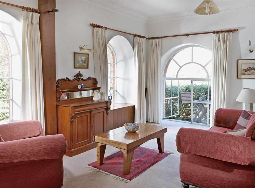 Living room at Papermaker's Cottage in Bow Creek, Nr Totnes, South Devon., Great Britain