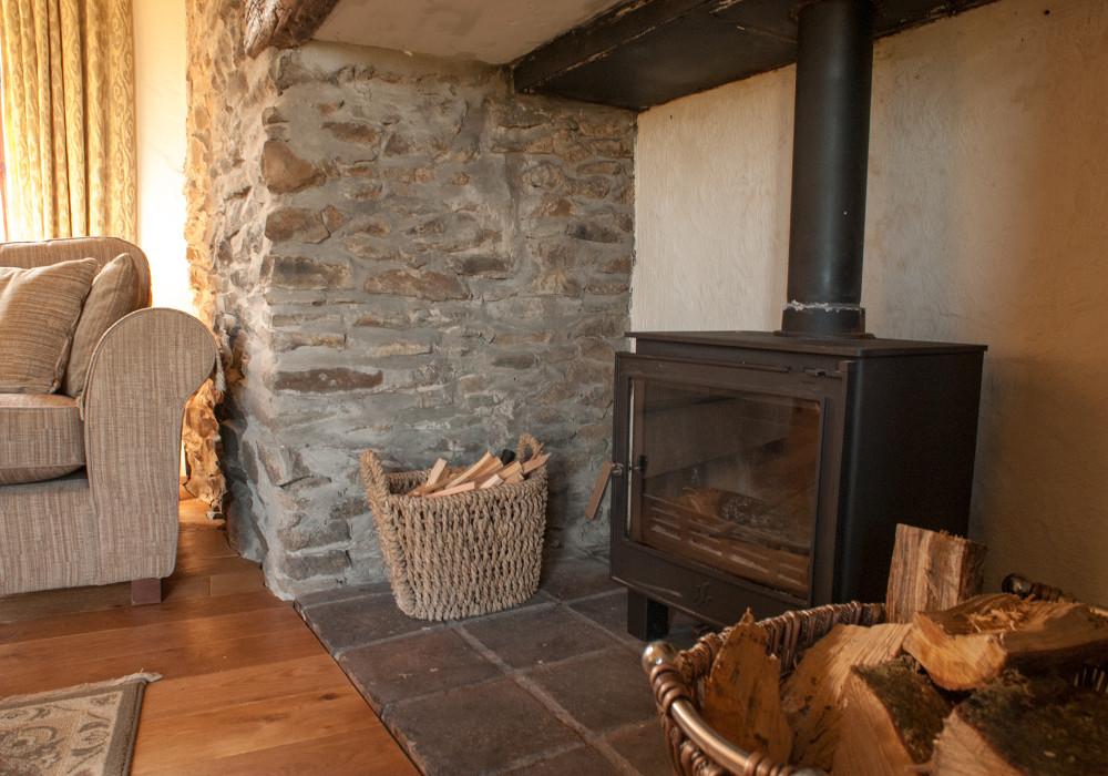 The wood burning stove at Bwthyn Gwyn,
