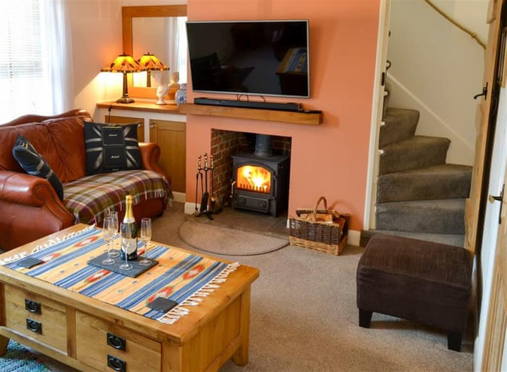 Cosy living room with wood burner at Pebble Cottage in Caister-on-Sea, Norfolk