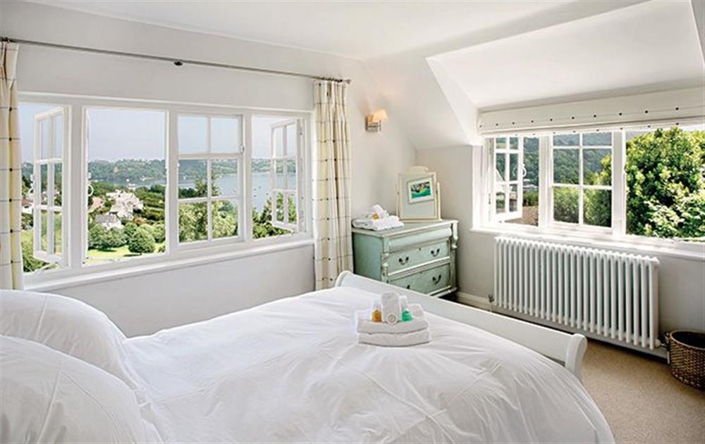 First floor: Master bedroom with 5' lit Bateau bed at Penveron, Dittisham