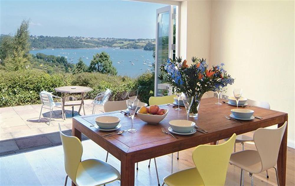 Ground floor: Dining area with views of the Dart Estuary at Penveron, Dittisham
