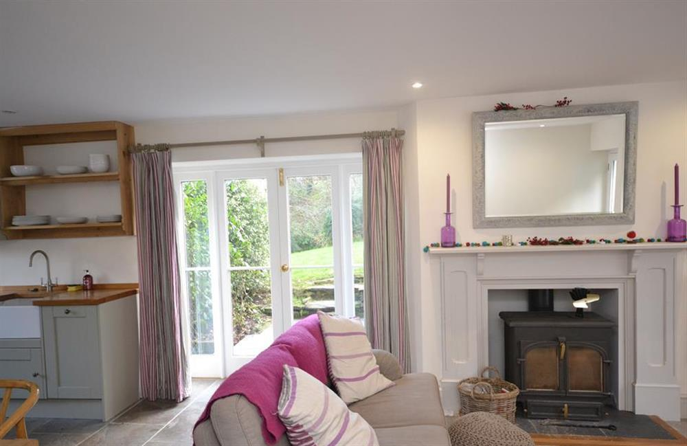 Snuggle up infront of the wood stove at Perchwood Cottage, Tuckenhay