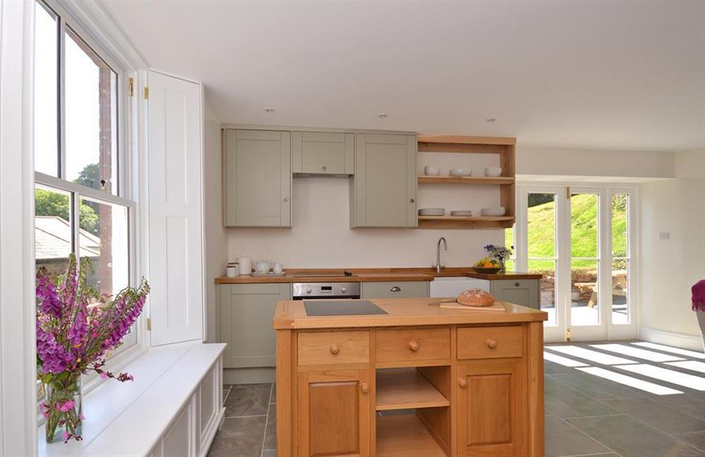 The bespoke well equipped kitchen at Perchwood Cottage, Tuckenhay