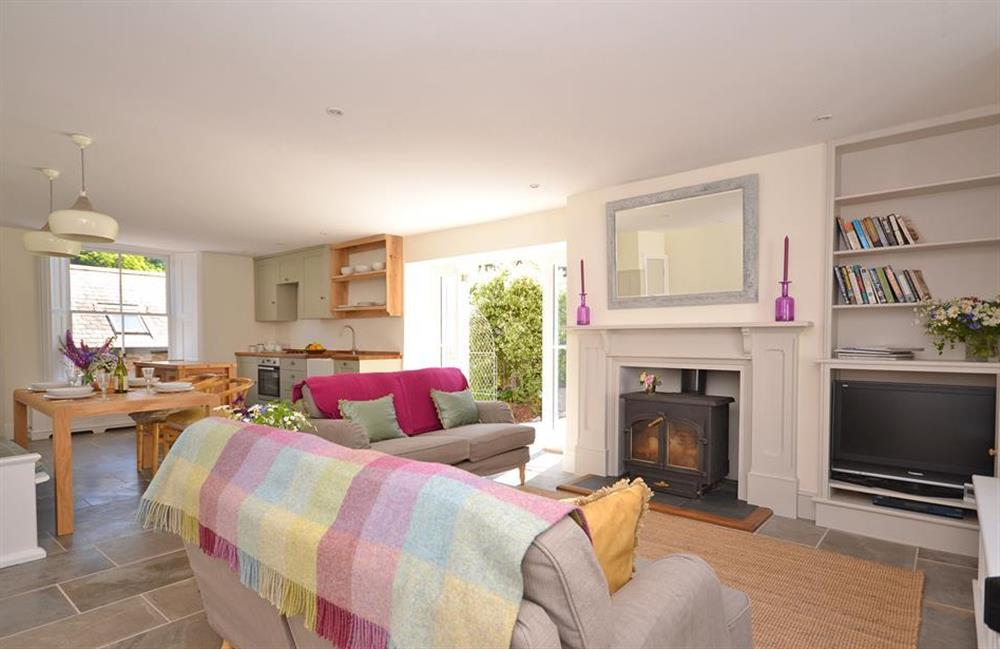 The spacious open plan living area at Perchwood Cottage, Tuckenhay