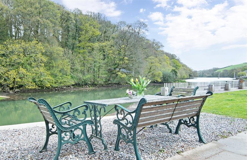Dine alfresco beside the water at Perchwood Shippon, Tuckenhay