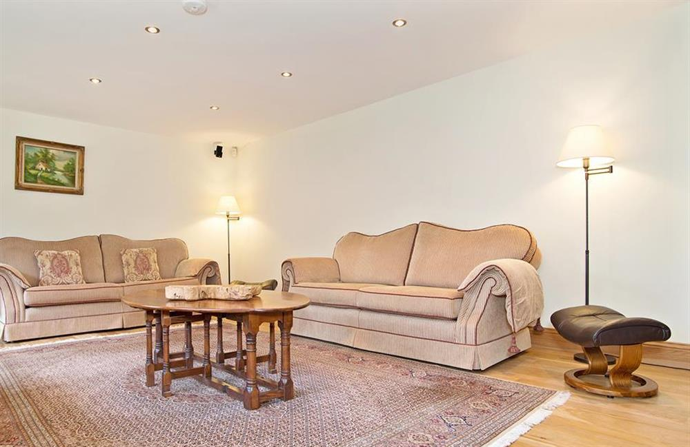 The comfortable sofas in the lounge at Perchwood Shippon, Tuckenhay