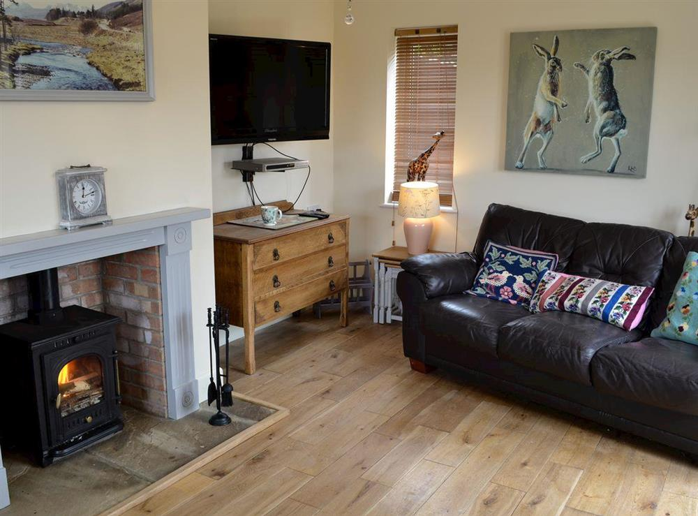 Living room with multi-fuel burner at Pipers Pool in East Stour, near Gillingham, Dorset, England