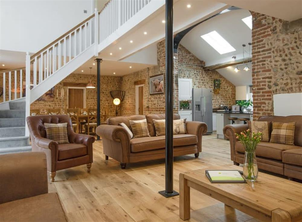 Stylish open-plan living space at Pipistrelle Barn in North Walsham, Norfolk