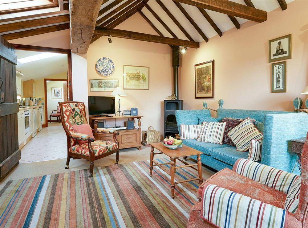 Living room with wood burner and beamed ceiling at Pippins in Great Hautbois, near Coltishall, Norfolk