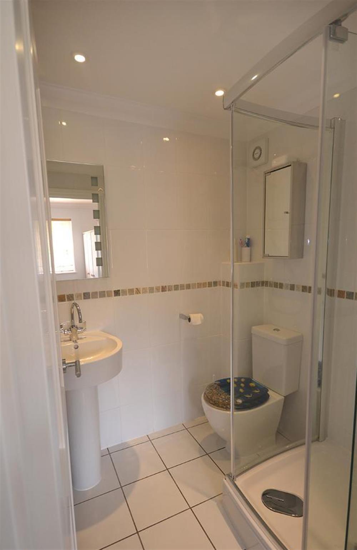 En suite master shower room at Pool Cottage, Stoke Gabriel