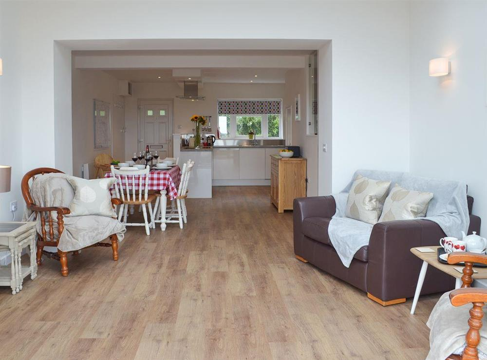 Open plan living space at Poppy Cottage in Blackawton, near Dartmouth, Devon