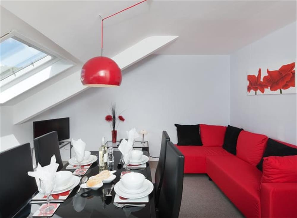 Open plan living space at Porto Seguro in Brixham, Devon