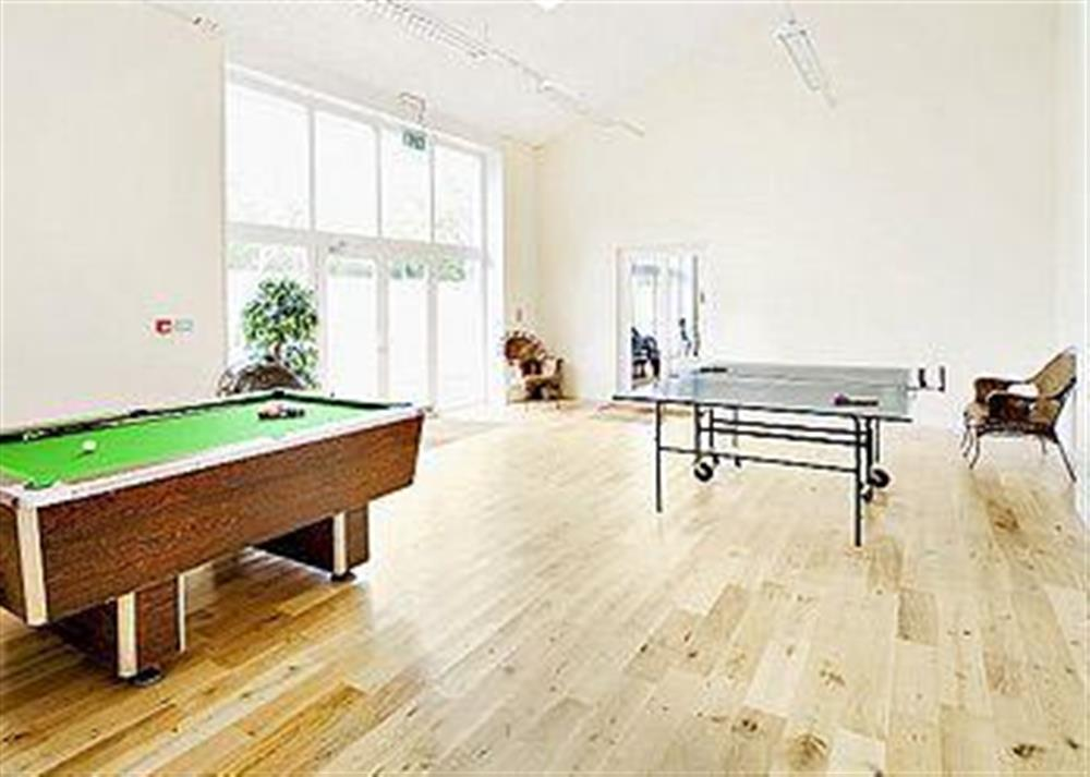 Games room with pool table and table tennis at Poulston House in Harbertonford, near Totnes, Devon