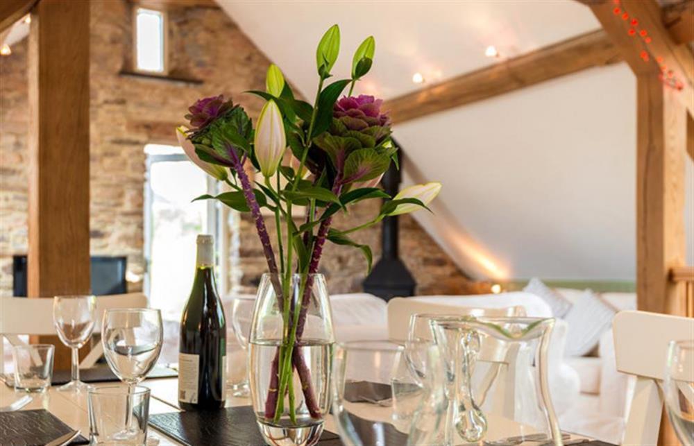 Lovely dining  at Preston House Barn, Moreleigh