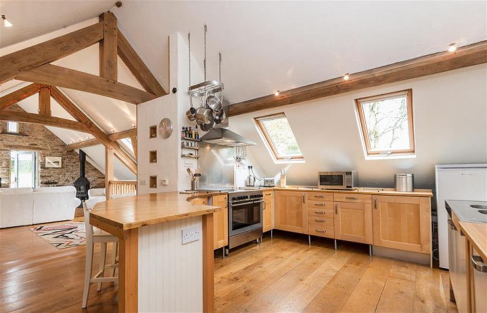 The open plan kitchen diner at Preston House Barn, Moreleigh