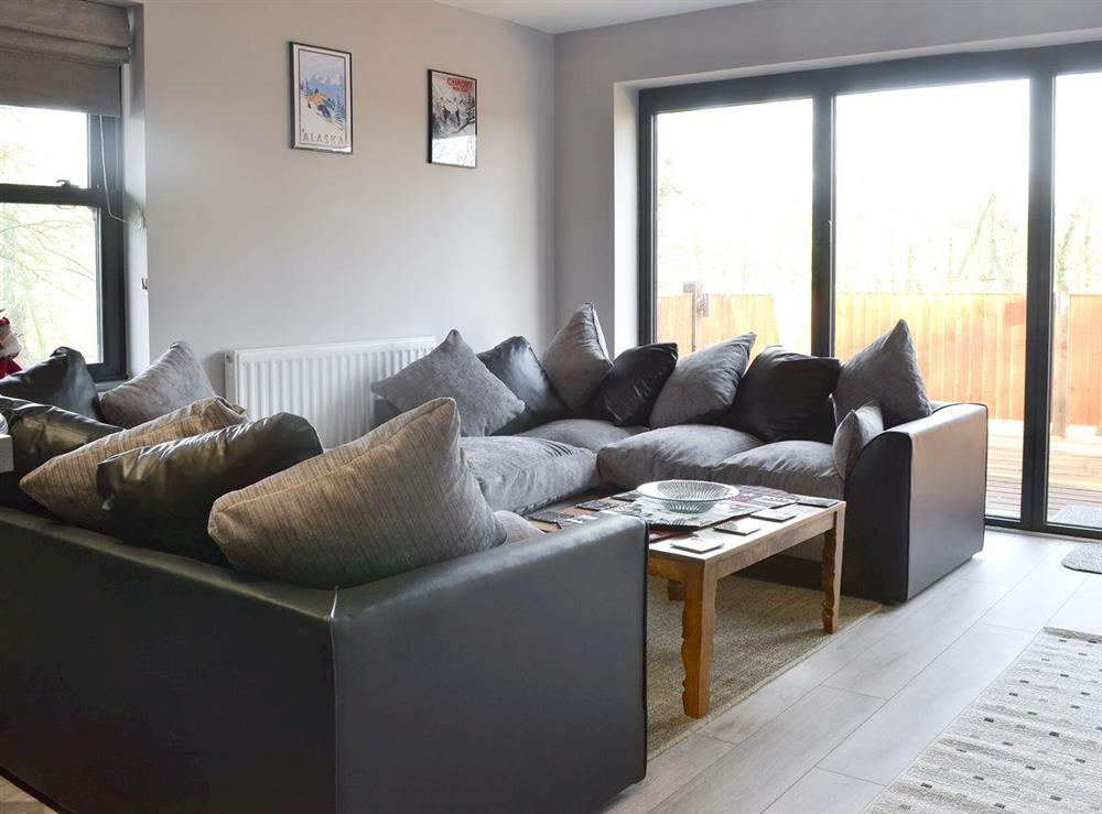 Spacious, comfortable living area at Quarry Lodge in Munsley, near Ledbury, Herefordshire
