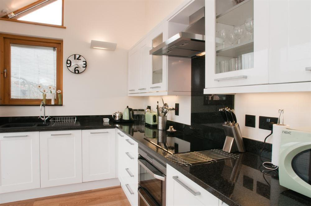 Modern, well-equipped kitchen at Quay Lodge in 60 Sandquay Road, Dartmouth